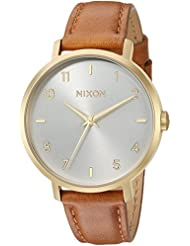 Nixon Womens Arrow Leather Quartz Stainless Steel Casual Watch, Color:Brown (Model: A10912621-00)