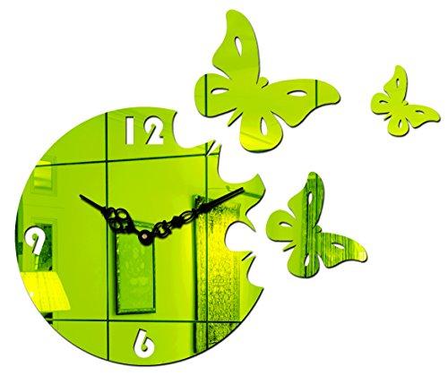 Sehaz Artworks 'Moon Butterfly' Asymmetric Acrylic Wall Clock (25 cm x 25 cm x 2 cm, Green)