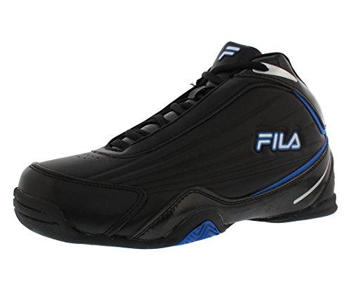 Fila Men's Slam 12C Basketball Shoe, Black/Electric Blue/Metallic Silver, 9.5 M US