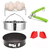 TUMARO Accessories for Instant Pot Set, Vegetable Steamer Basket, Egg Steamer Rack, Non-Stick Springform Pan, Bowl Dish Clip and a Pair of Silicone Cooking Pot Oven Mitts(6 Pieces)
