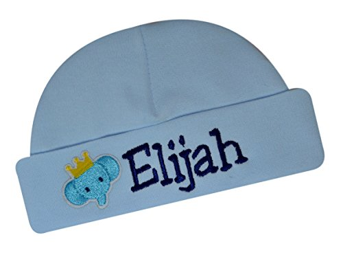 (Personalized Embroidered Baby Boys Keepsake Hat with Elephant from Funny Girl Designs Your Text (Blue))