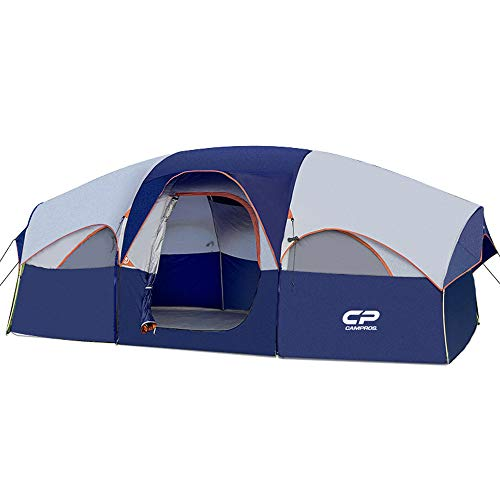 CAMPROS Tent-8-Person-Camping-Tents, Waterproof Windproof Family Tent, 5 Large Mesh Windows, Double Layer, Divided Curtain for Separated Room, Portable with Carry Bag, for All Seasons - Updated