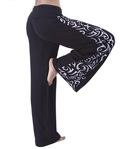 (Hali Cali Women's Straight Casual Loose Wide Leg fold Over Comfy Palazzo Pants (XL, Black Aztec Print))