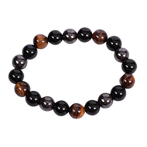 Diamondo Casual Men Hematite Black Obsidian Beads Bangle Tiger Eye Stone Bracelet