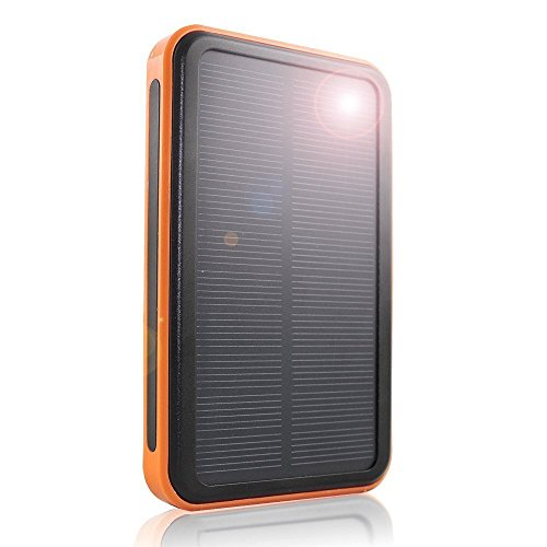 Solar Power Bank 30000mAh, Portable Solar Phone Charger Waterproof Dual USB External Battery Pack with Flashlight for Cell Phone iPhone Samsung Tablet Camera and More (Orange)