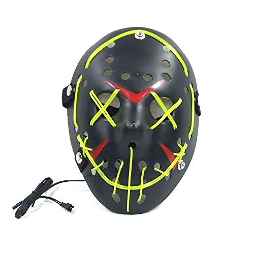 Neon Nightlife Men's Light up Mask(9.847.483.54in/Voice Switch-Dark Green)