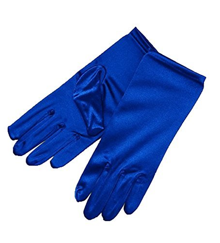 ZaZa Bridal Shiny Stretch Satin Dress Gloves Wrist Length 2BL-Royal Blue