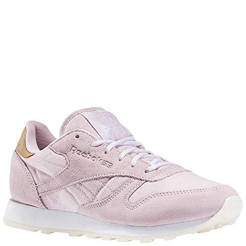 Reebok Women's CL LTHR SEA-Worn Fashion Sneaker, Shell Purple/White, 7 M US