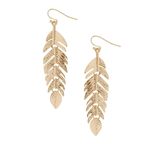 Gold Tone Metal Earrings (Humble Chic Floating Feathers Dangle Earrings - Long Hanging Metal Link Leaf Drops, Gold-Tone)