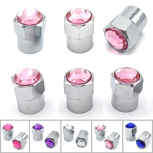 Look Bling - Sparkle Rider Crystal Rhinestone Bling Tire Valve Stem Caps - Chrome Air Cover fits Schrader Valves - Cool Car, Motorcycle, Truck or Bicycle Wheel Accessory (6-Piece Set, Pink)