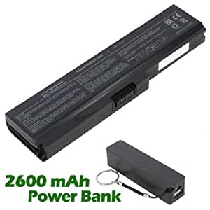 Battpit Bateria de repuesto para portátiles Toshiba Satellite C660-1VR (4400 mah) con 2600mAh Banco de energía/batería externa (negro) para Smartphone