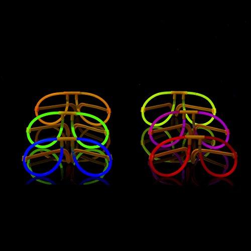 Ezerbery 50 Aviator Glow Eyeglasses Glowstick Eyeglasses, 6 Color Assorted - Glow Eyeglasses Aviator