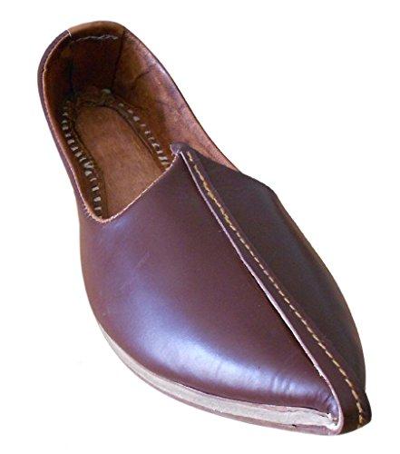 Kalra Creations - Zapatillas de estar por casa de piel auténtica para hombre marrón