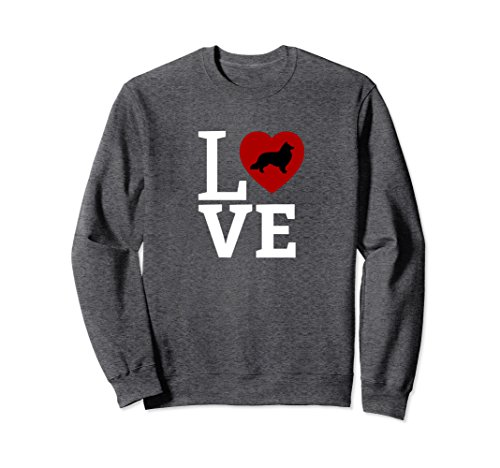 ie LOVE, Sheltie Sweatshirt Sheltie Mom Gift Medium Dark Heather ()