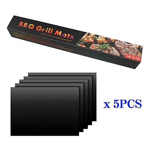 "MTB Grill mat (Set of 5) Size 13""x16"",Black Color,Reusable and Easy to Clean-Works on Gas, Charcoal,Electric Grill and More"