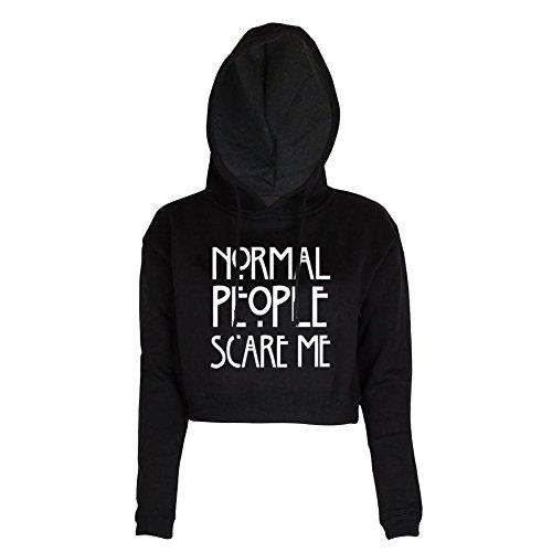 BLACKMYTH Women Cute Crop Top Sweatshirt Juniors Hoodie Teens Funny Sweater Black Small