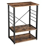 VASAGLE Industrial Kitchen Baker's Rack, Microwave Oven Stand with Metal Frame and 6 Hooks, Multifunctional Shelves in The Kitchen Living Room, Wood Look UKKS60X