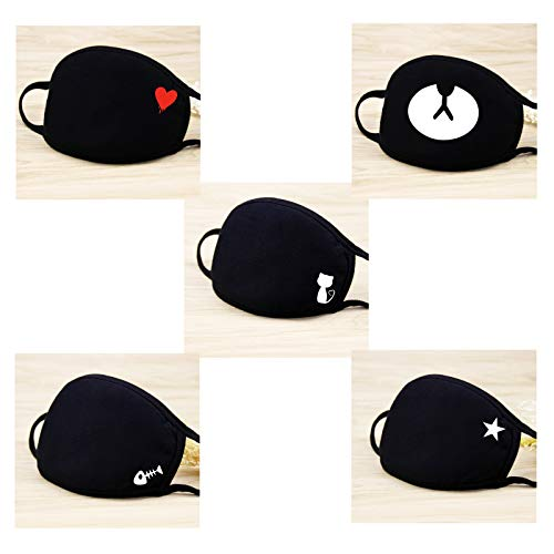 eKoi Kawaii Black Cute Korean Kpop BTS Anime Fashion Soft Comfy Cotton Anti Dust Proof Half Face Mouth Mask Cover for Night Sleeping Winter Outing Adult Youth Kids (5 PCS) ()
