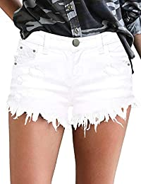 Denim Shorts for Women Frayed Jean Short Cute Mid Rise Ripped Hot Shorts Comfy Stretchy
