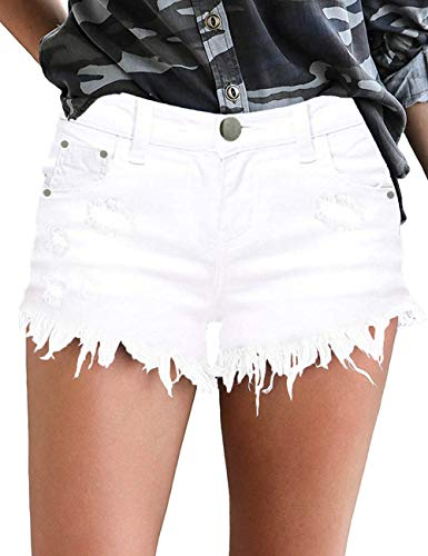 MODARANI White Denim Overall Shorts for Women Junior Ripped Mid-Rise Shorts Distressed Strechy Jean L