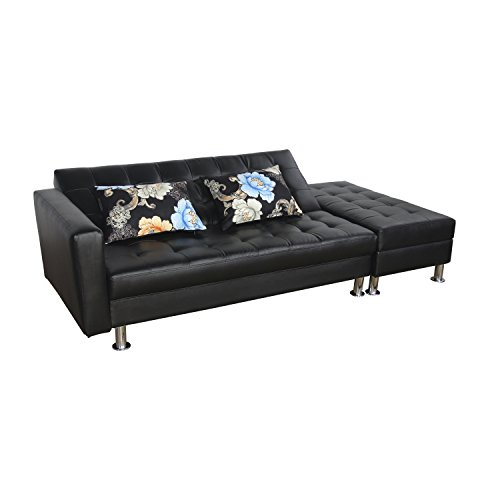 HomCom PU Leather Folding Sofa Couch Sleeper Bed w/Storage Ottoman - Black