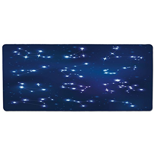 (iPrint Pet Mat for Food and Water,Constellation,Realistic Celestial Gemini Leo Pisces Sagittarius Galactic,Dark Blue Light Blue Purple,Rectangle Non-Slip Rubber Mat for Dogs and Cats)
