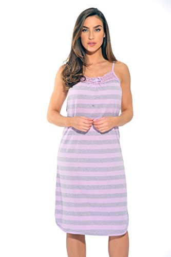 1525A-LIL-XL Just Love Nightgown / Women Sleepwear / Womans Pajamas,Lilac Stripe,X-Large , ()