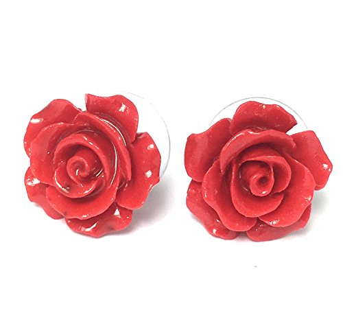 Alice Yan Jewelry Resin Very Red Rose Earrings 14K White Gold Over Sterling Silver 15mm 1/2 inch (Very Red)