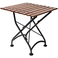 Mobel Designhaus French Café Bistro Folding Coffee Table/Bench, Jet Black Frame, European Chestnut Wood Slat Top with Walnut Stain