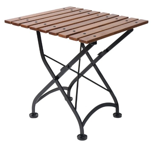 Mobel Designhaus French Café Bistro Folding Coffee Table/Bench, Jet Black Frame, European Chestnut Wood Slat Top with Walnut Stain (Folding Plastic Table Walnut)