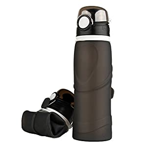 Ksweet Collapsible Silicone Water Bottle bpa Free 750ml Leakproof Portable Water Bottle Wide for Hiking Running Biking Camping Travel (Black)