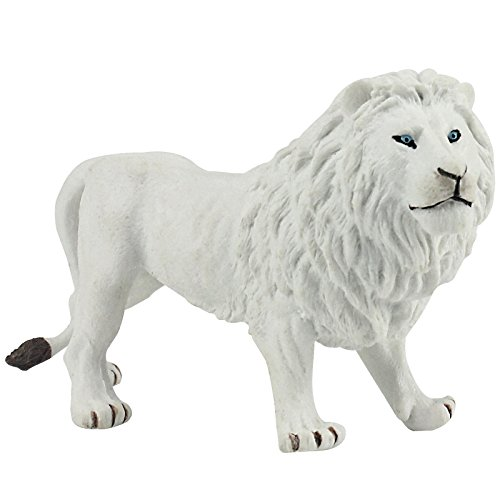 FUNSHOWCASE African Jungle Animals Male White Lion Toy Figure Realistic Plastic Figurine Height 3.1-inch