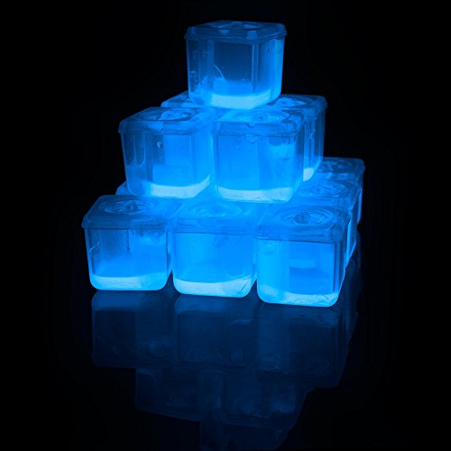 Fun Central P908, 24 Pcs 1.2 Inches Blue Glow in The Dark Ice Cubes, Glowing Ice Cubes, Light Up Ice Cubes, Ice Glow for Glow in The Dark, Disco, and Rave Party]()