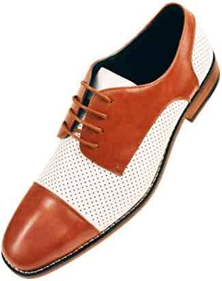 64e9ae25761 Amali Mens Two Tone Cap Toe with Perforation Smooth Oxford Dress Shoe Style  Yoshida