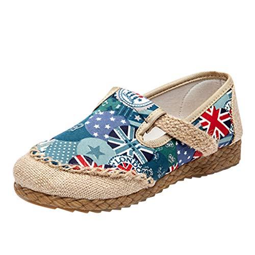 (Mysky Fashion Summer Women Flag Print Breathable Hemp Weave Loafers Ladies Casual Comfortable Flat Cloth Shoes Blue)