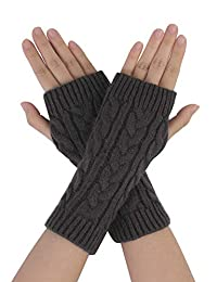 Allegra K Unisex Fingerless Cable Knit Knitted Gloves Dark Grey