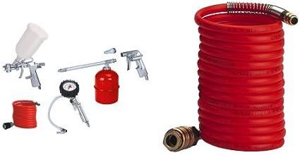 Einhell - Kit de aire comprimido (metálico, 5 piezas, 1.7 kg) color rojo y blanco + Tubo en espiral para compresor (8 m, interior de 6 mm) color rojo