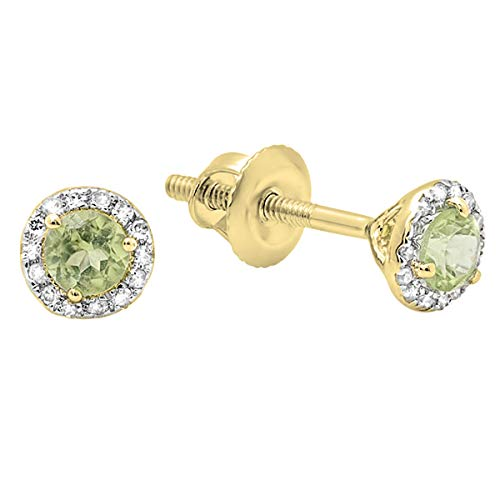 (Dazzlingrock Collection 18K Round Peridot & White Diamond Ladies Halo Stud Earrings, Yellow Gold)