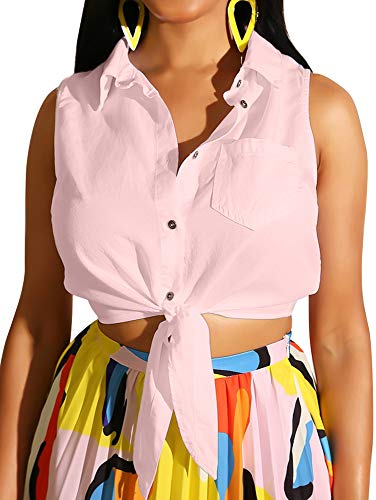 (TOB Women's Sexy Sleeveless Tie Knot Crop Tops Fitting Plain Lapel Shirts Pink)