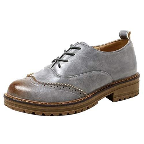 à Brogue Chaussure Classique Gris Femmes TAOFFEN Lacets ZUwpITxpq