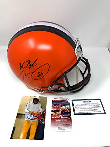 Baker Mayfield Jarvis Landry Cleveland Browns DUAL Signed Autograph Authentic On Field Proline Full Size Helmet JSA Witnessed & Steiner Sports Certified
