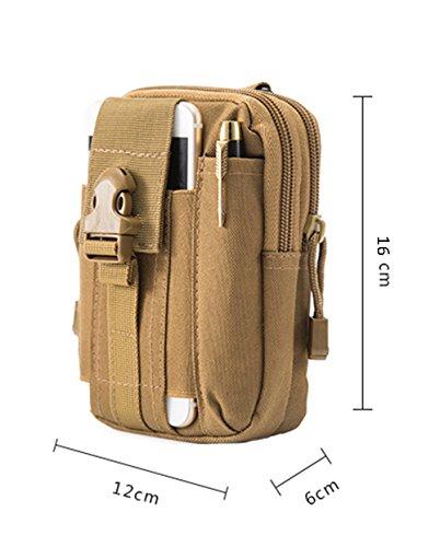 zeato Tactical Bolsa Edc Utility Gadget para cinturón porta riñonera con teléfono móvil iPhone 6y 6Plus 7/7Plus Samsung Galaxy S8S7S6LG HTC y más, Hombre, Army Green verde caqui