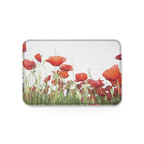 Printed Poppies Modern (Pink Sky Modern Doormat for Entrance Indoor Outdoor Hand Painting Poppy Flower Printed Carpet,Bedroom Bathroom Entryway Mats Shoes Scraper,18 x 30 Inch)