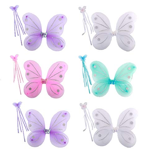 kilofly 6 Sets Princess Fairy Wings Butterfly Angel Costume Dress Up Role Play