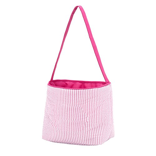 Seersucker Large Fabric Bucket Tote Bag, Pink