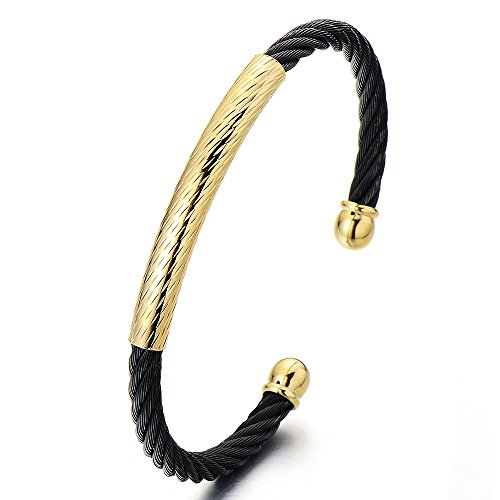 Elastic Adjustable Stainless Bracelet Two tone