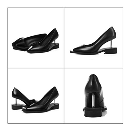 Negro QPYC tacón forma de Personalidad Tacones Cabeza Agujas al profundas cuero de de agua genuino Metal Zapatos Zapatos b 35 de resistente de alto altos poco 37 cuadrada Zapatos mujer diferente boca 8XwXxq0Sr