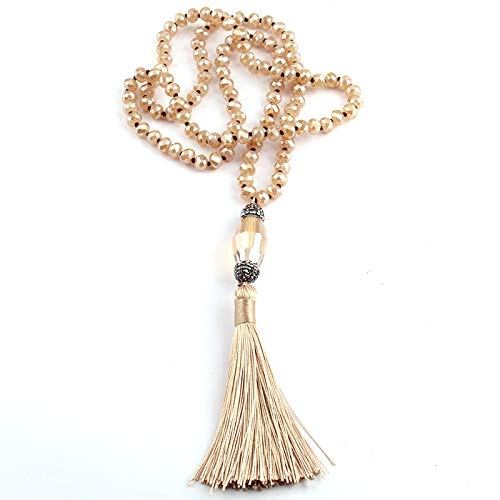Circle Ring Luxurious Pave - Fashionable Bohemian Jewelry | Beige Crystal Glass Knotted Pave Tassel Handmade Necklaces | for Women