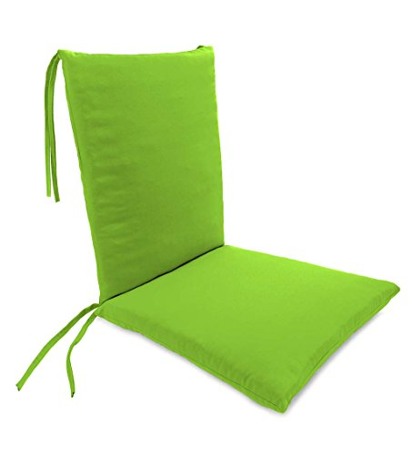 Plow & Hearth Classic Polyester Outdoor Rocking Chair Cushion with Ties, Seat Cushion 21''W Front/17''W Back x 19''D; Back Cushion 16''W x 20''L - Greenery