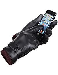 PU Leather Touchscreen Gloves Driving Gloves Black Winter Warm Gloves